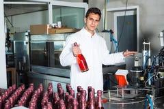 Man som arbetar på vinproduktion Arkivbild