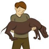 Man som bär den sårade hunden Arkivfoton