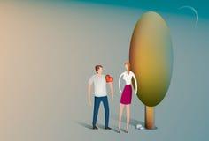 Man som bär hans hjärta på hans muff vektor illustrationer
