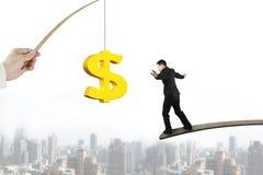Man som balanserar guld- drag för fiske för dollartecken med cityscape Royaltyfria Bilder