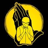 Man som ber till guden, böntecknad filmdiagram stock illustrationer