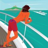 Man som beundrar siktsanseende på yachtdäck Fotografering för Bildbyråer