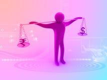 man som 3D balanserar valuta Arkivfoton