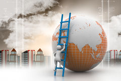 man som 3d klättrar jordklotet med hjälpen av stegen Arkivbild