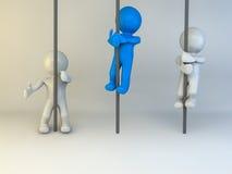 man som 3D klättrar upp royaltyfri illustrationer
