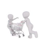 man som 3d skjuter ett barn på en shoppingvagn stock illustrationer