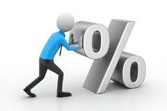 man som 3D skjuter procenttecknet stock illustrationer