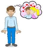 Man som drömmer av en kyss vektor illustrationer