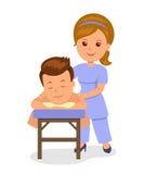 Man som får avslappnande massage i brunnsort Massösen gör wellnessmassage Isolerad vektorillustration i den plana stilen Royaltyfria Foton