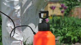 Man som förbereder pumpsprejaren för arbete i trädgården arkivfilmer