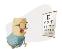 Man som försöker att se bokstäver på ett synförmågaprovdiagram Royaltyfri Illustrationer