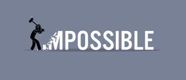 Man som förstör ordet som är omöjligt till möjligheten stock illustrationer