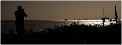 Man som fotograferar fartyg och fåglar Royaltyfri Fotografi