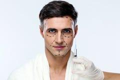 Man som förbereder sig för plastikkirurgi Royaltyfria Bilder