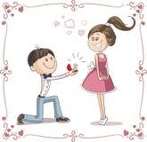 Man som frågar kvinnan att att gifta sig honom tecknad filmillustration Fotografering för Bildbyråer