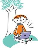 Man som fungerar på bärbar dator Vektor Illustrationer