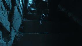 Man som går bottenvåning i månsken på natten stock video