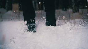 Man som går i det djupa insnöat vinterskogen på den snöig dagen långsam rörelse arkivfilmer