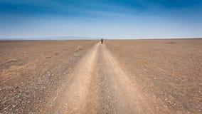 Man som går på vägen med ryggsäcken Arkivfoton