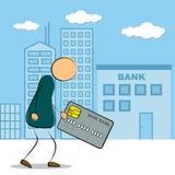 Man som går till bankbyggnad med kreditkorten Royaltyfri Illustrationer