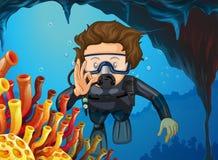 Man som gör dykapparatdykning under havet Royaltyfri Foto
