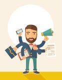 Man som gör multitasking stock illustrationer