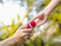 Man som ger en röd gåvaask till kvinnan Förälskelse valentin, närvarande begrepp arkivfoton