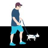Man som går hunden Arkivbilder