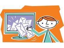 Man som hämtar post från internet Stock Illustrationer