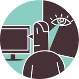 Man som hålls ögonen på av ögat på väggen Vektor Illustrationer