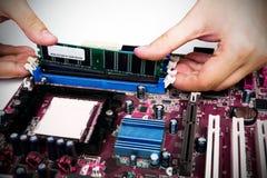 Man som installerar minne till PC:N Fotografering för Bildbyråer
