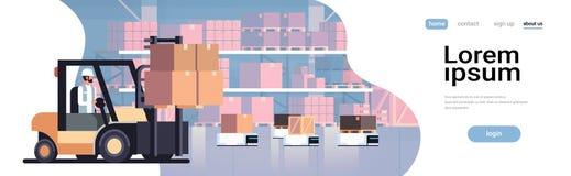 Man som kör begreppet för transport för leverans för ask för jordlott för bil för robot för lager för lastbil för gaffeltruckladd royaltyfri illustrationer