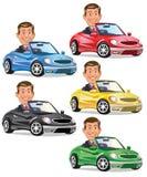 Man som kör cabriolet vektor illustrationer