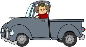 Man som kör en blå lastbil Arkivfoto