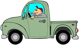 Man som kör en gammal grön lastbil Fotografering för Bildbyråer