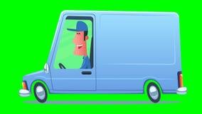 Man som kör en tjänste- skåpbil stock illustrationer