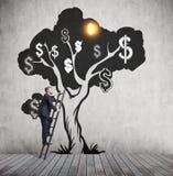 Man som klättrar dollarträdet Arkivbild
