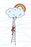 Man som klättrar till himmel med dröm royaltyfri illustrationer