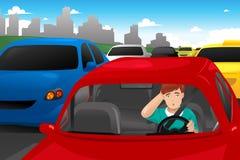 Man som klibbas i trafik Fotografering för Bildbyråer