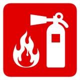 man som kontrollerar brandeldsl?ckaren Rött rektangeltecken vektor illustrationer