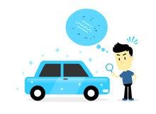 Man som kontrollerar för liten skada på denperfekta använda bilen Arkivfoton