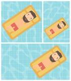 Man som kopplar av i simbassängvektorillustration Arkivbild