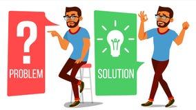 Man som löser problemvektorn Problemlösning, hemlig upptäckt Karriärframgång Beslutsproblem som löser process bifokal vektor illustrationer