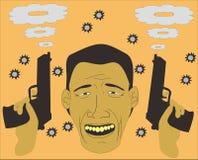 Man som ler efter vapenstrid royaltyfri illustrationer