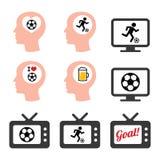 Man som älskar fotboll- eller fotbollsymbolsuppsättningen Arkivfoto