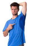 Man som mycket dåligt svettas under armhålan Arkivfoton
