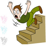 Man som ner faller flyg av trappa vektor illustrationer