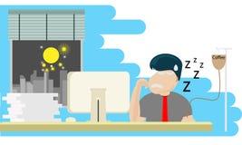 Man som placerar att arbeta på datorskrivbordet med stopptid stock illustrationer
