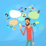 Man som pratar att smsa, social nätverkskommunikation royaltyfri illustrationer