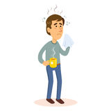 Man som är sjuk med influensa Arkivfoton